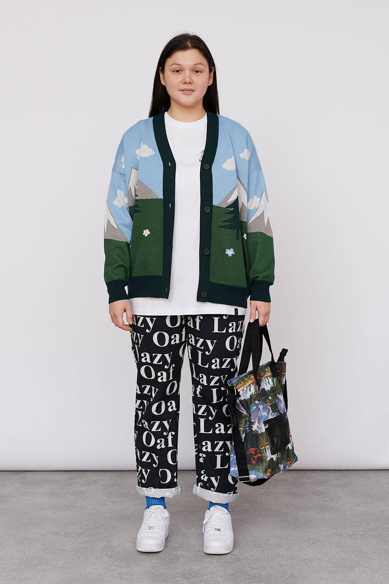 Lazy Oaf Take A Hike Outdoor Hiking Collection Lookbook Knitwear Cardigan Camping Logo Pants Nike Air Force 1 AF1