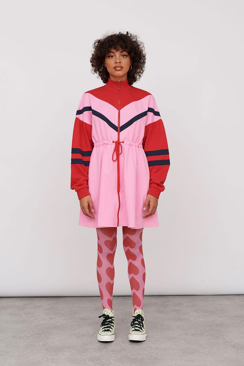 Lazy Oaf Take A Hike Outdoor Hiking Collection Lookbook Pink Red Dress Stripes Heart Tights