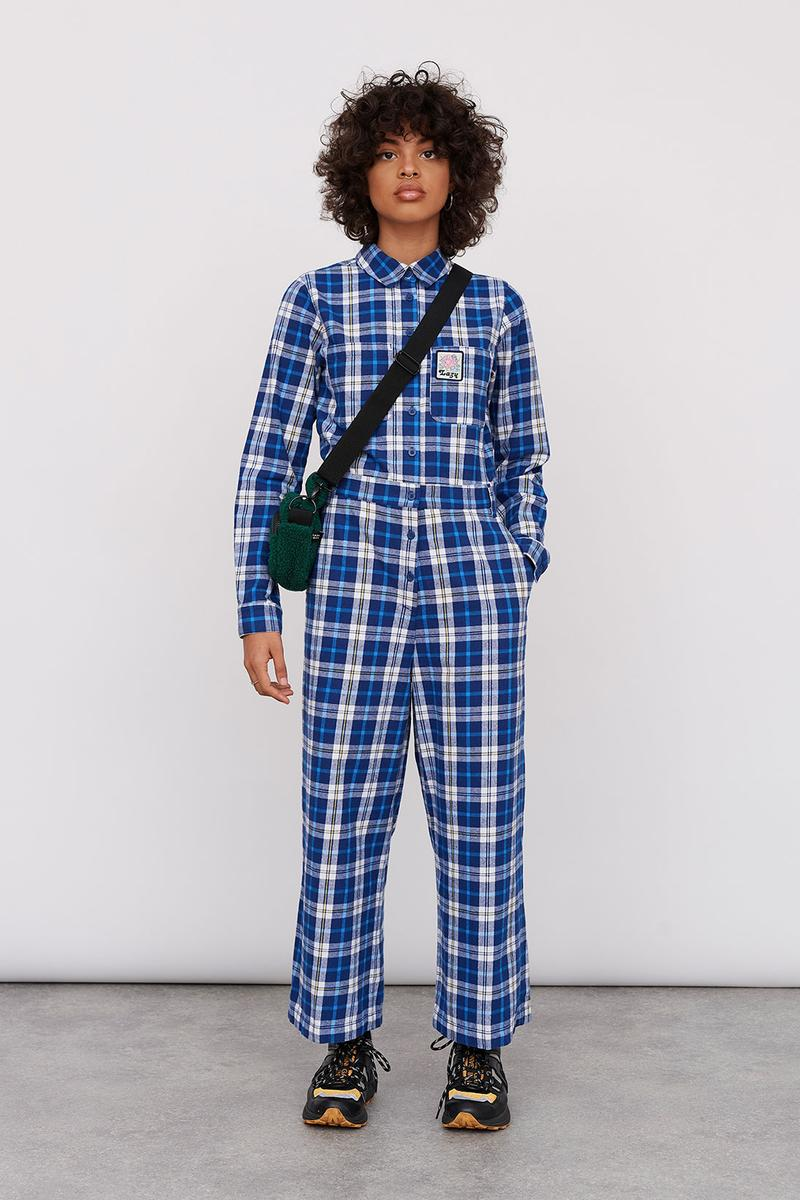 Lazy Oaf Take A Hike Outdoor Hiking Collection Lookbook Blue Check Plaid Jumpsuit