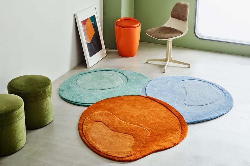 Studio the blue boy Sculpted Liquid Rug Creamy pistachio green Jaffa orange living room home decor