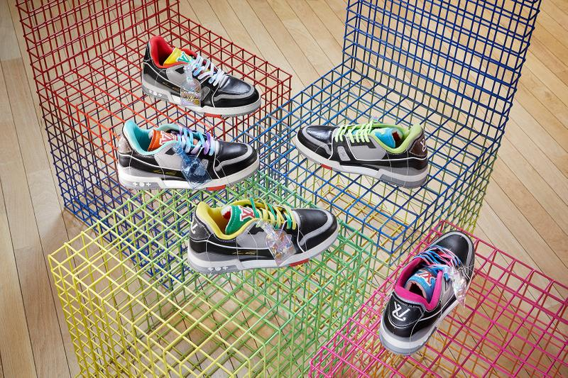 louis vuitton lv sneakers trainers upcycling mens spring summer collection sustainable customizable virgil abloh black pink blue green laces gray white