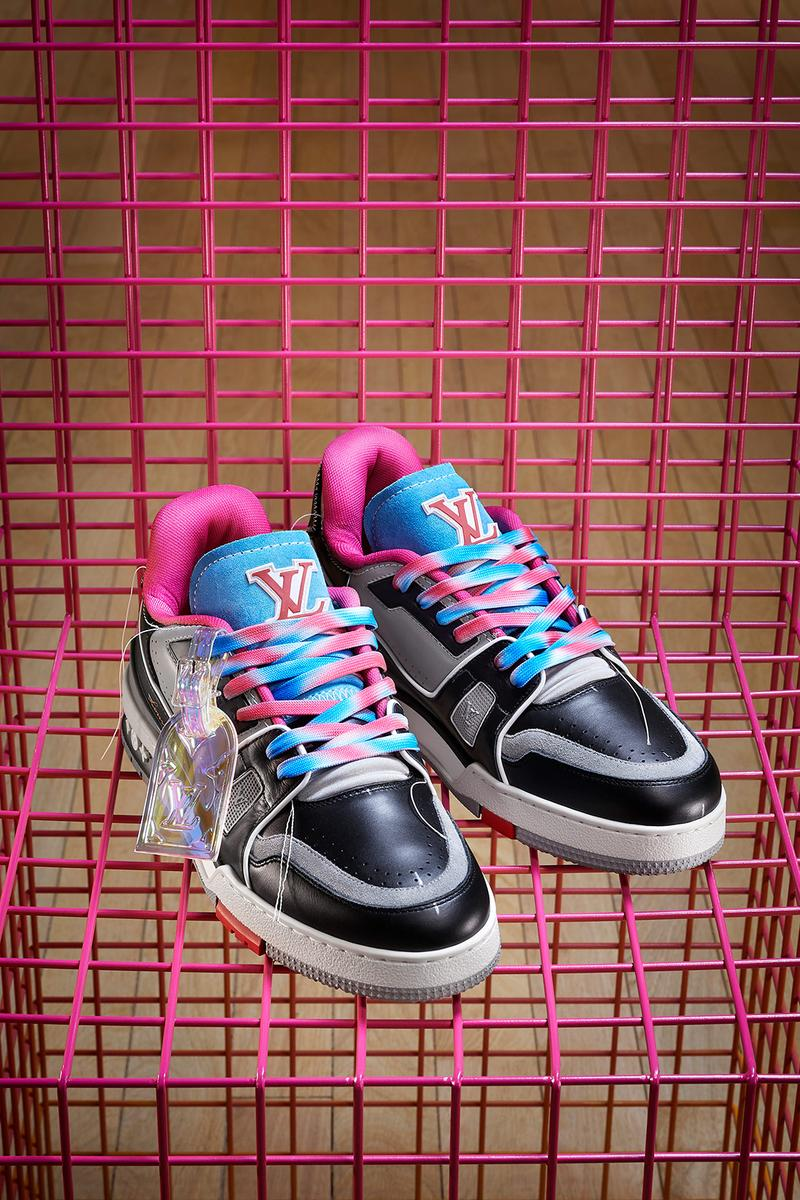 louis vuitton lv sneakers trainers upcycling mens spring summer collection sustainable customizable virgil abloh black gray pink blue white