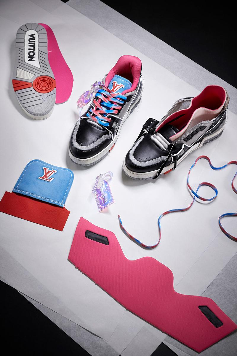 louis vuitton lv sneakers trainers upcycling mens spring summer collection sustainable customizable virgil abloh black gray pink blue laces insoles