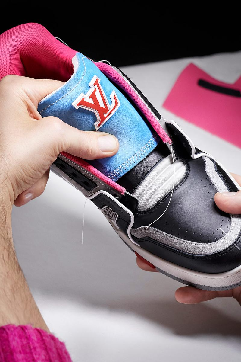 louis vuitton lv sneakers trainers upcycling mens spring summer collection sustainable customizable virgil abloh tongue blue red black gray pink logo