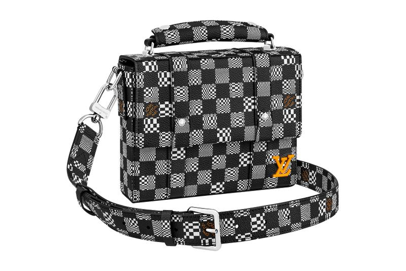 louis vuitton lv mens zoooom with friends spring summer 2021 ss21 collection virgil abloh accessories leather goods keepall damier check black gray orange logo soft trunk messenger bag
