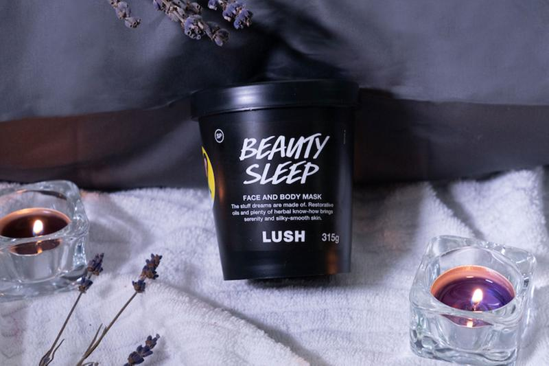 lush cosmetics beauty sleep face and body mask candles bed