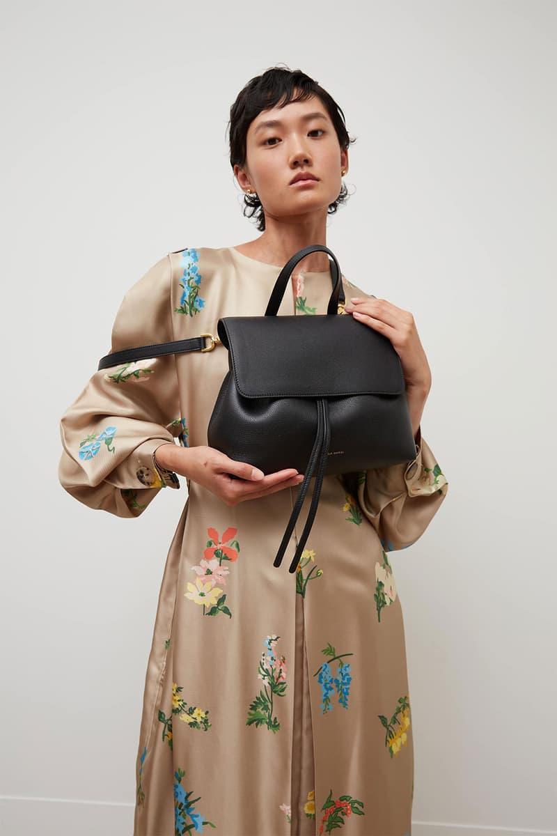 mansur gavriel soft lady handbag calfskin leather black pattern print dress model shot
