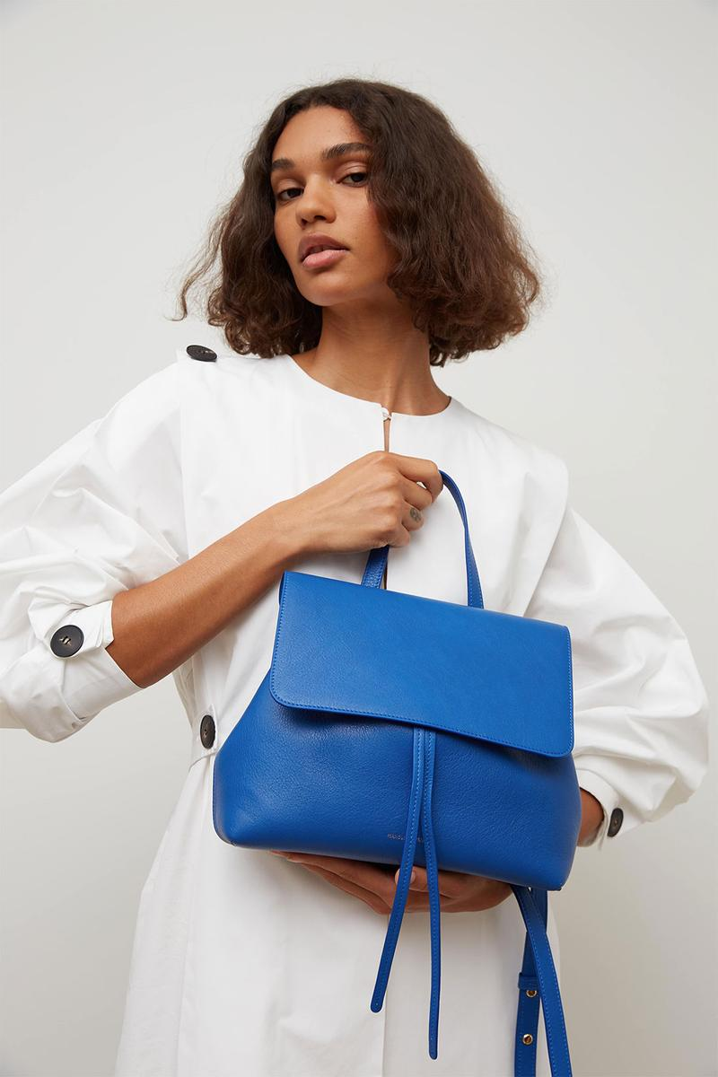 mansur gavriel soft lady handbag calfskin leather blue white dress model shot