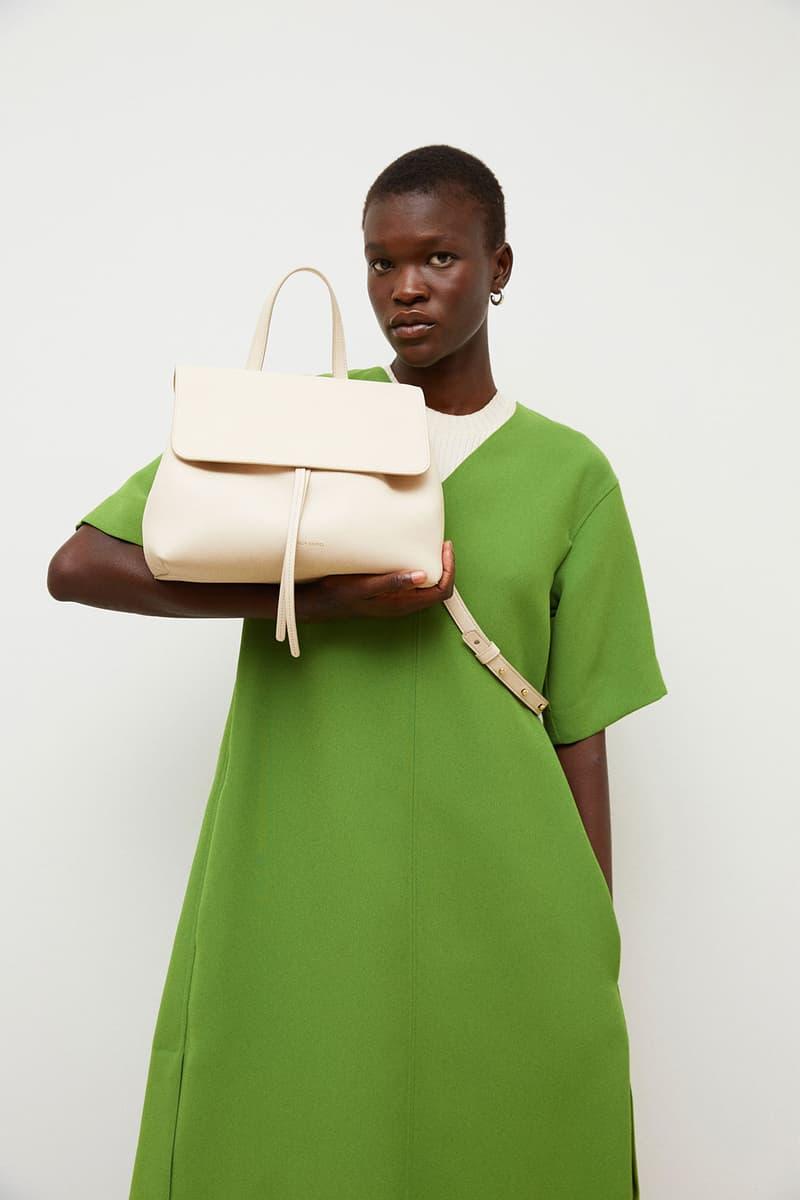 mansur gavriel soft lady handbag calfskin leather white ivory cream green dress