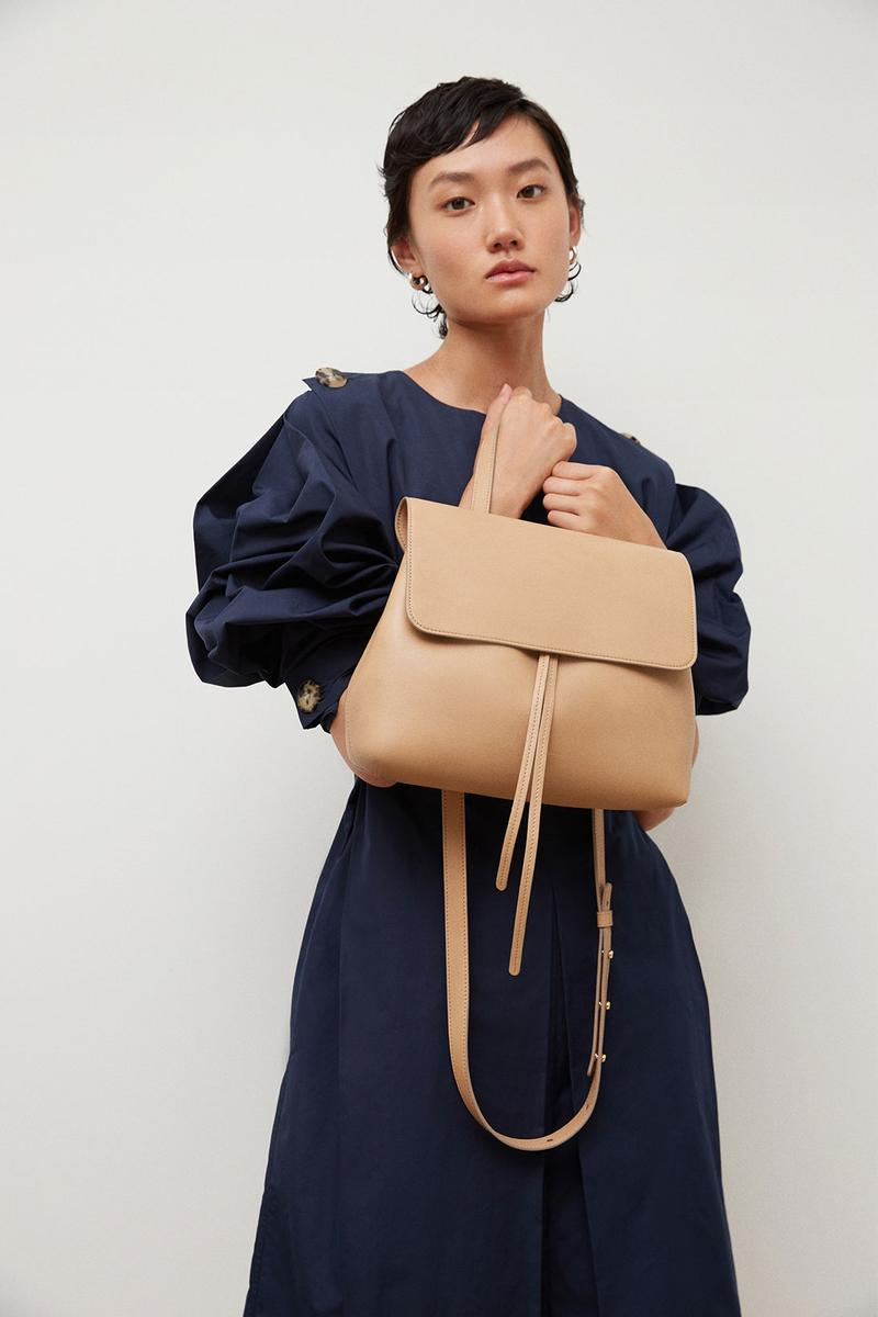 mansur gavriel soft lady handbag calfskin leather beige black puff sleeves dress