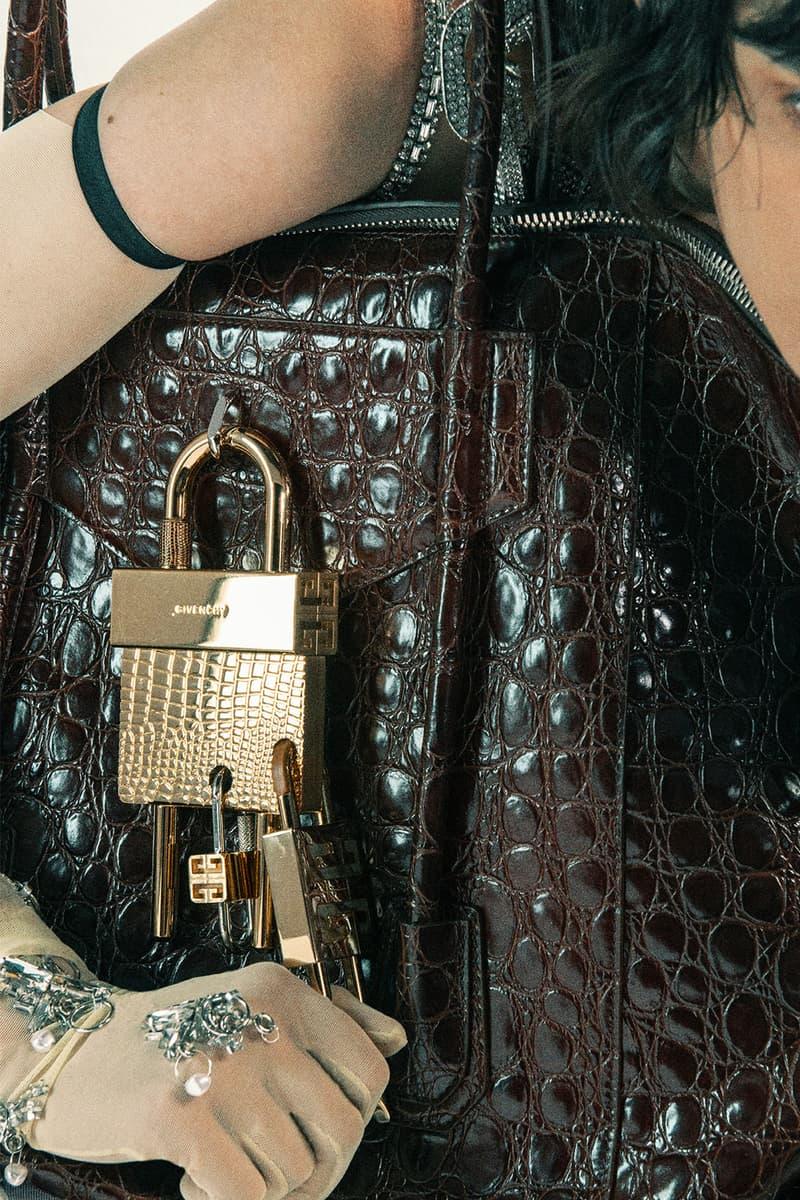 givenchy matthew williams unisex antigona handbags accessories gold silver hardware lock keys