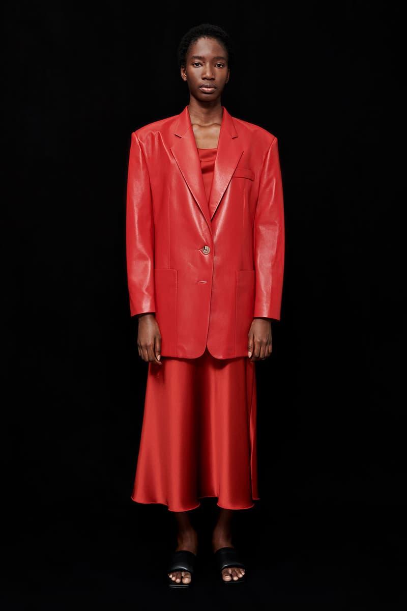 nanushka all-red chinese lunar new year collection vegan leather blazer slip satin midi skirt