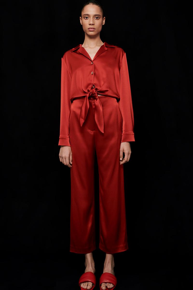 nanushka all-red chinese lunar new year collection slip satin jumpsuit