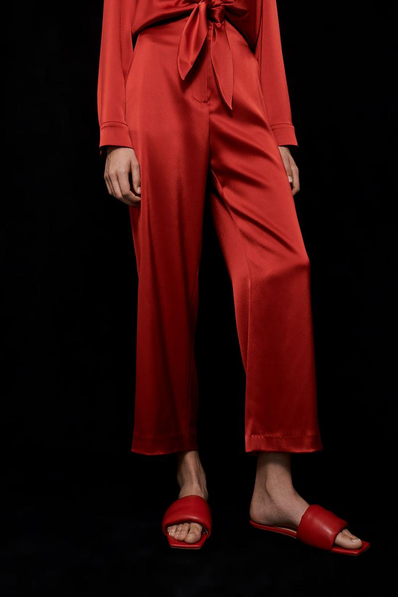 nanushka all-red chinese lunar new year collection slip satin jumpsuit pants slides slippers