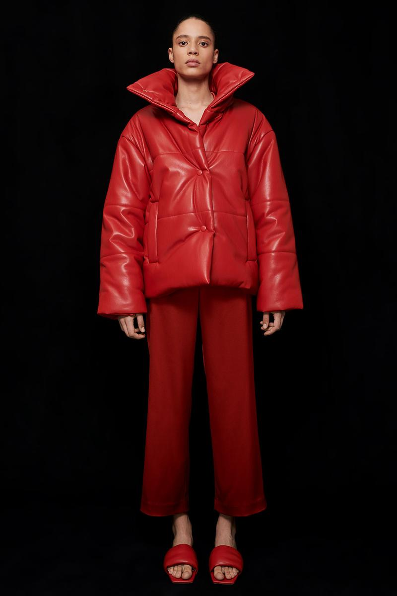 nanushka all-red chinese lunar new year collection vegan leather puffer jacket slip satin pants