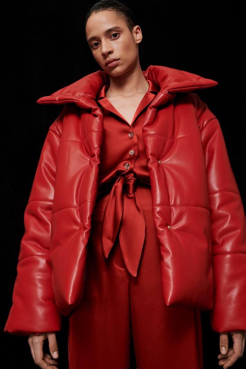 nanushka all-red chinese lunar new year collection vegan leather puffer jacket slip satin jumpsuit