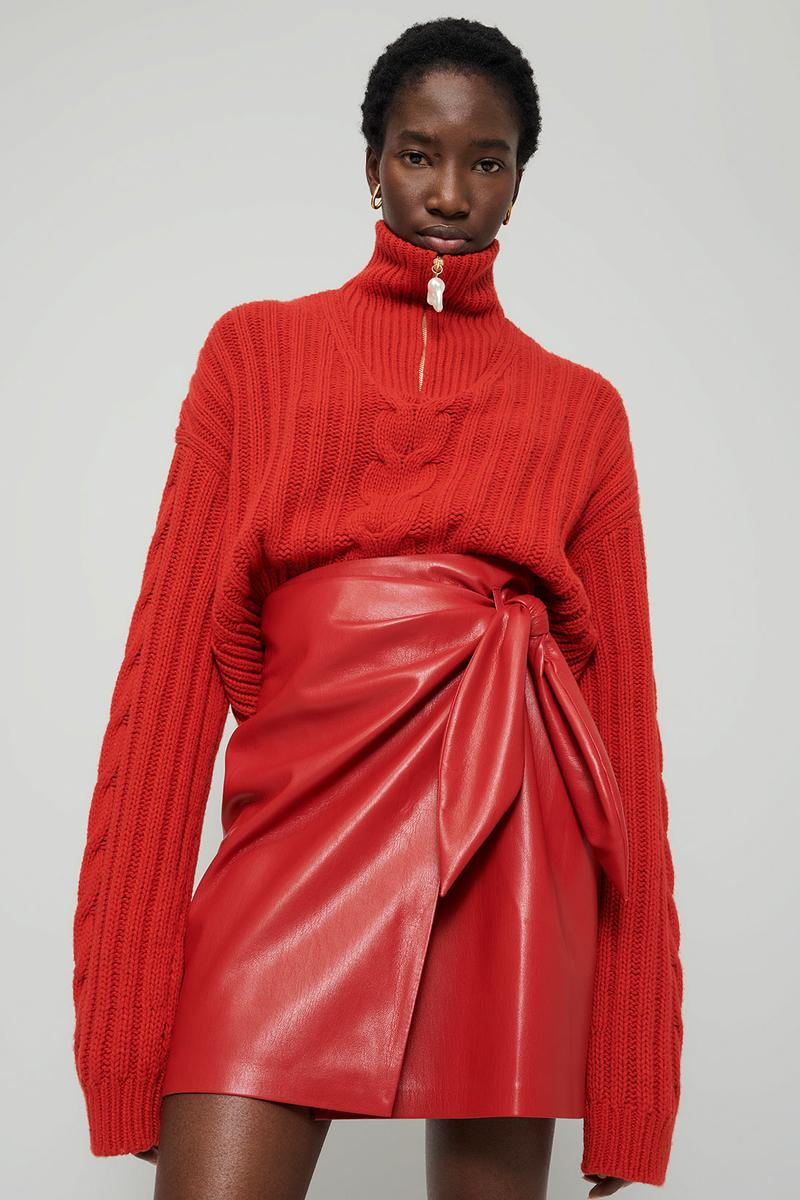 nanushka all-red chinese lunar new year collection chunky knitwear sweater vegan leather mini skirt