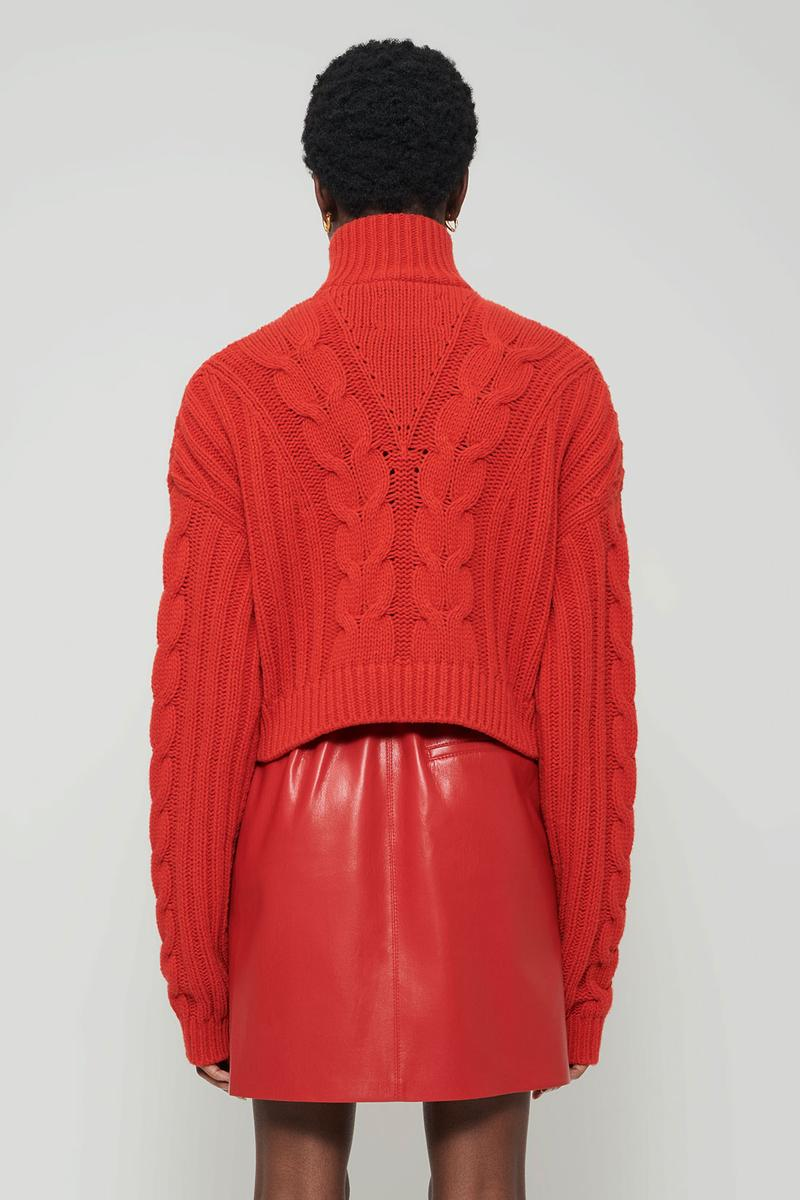 nanushka all-red chinese lunar new year collection chunky cable knitwear sweater vegan leather mini skirt