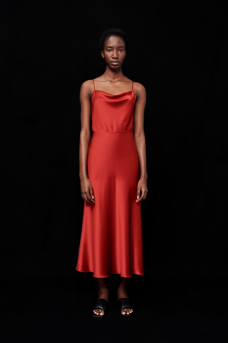 nanushka all-red chinese lunar new year collection slip satin tank top midi skirt