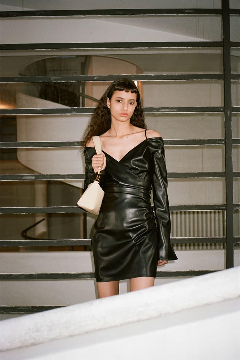 nanushka pre-fall 2021 collection lookbook black mini dress leather faux
