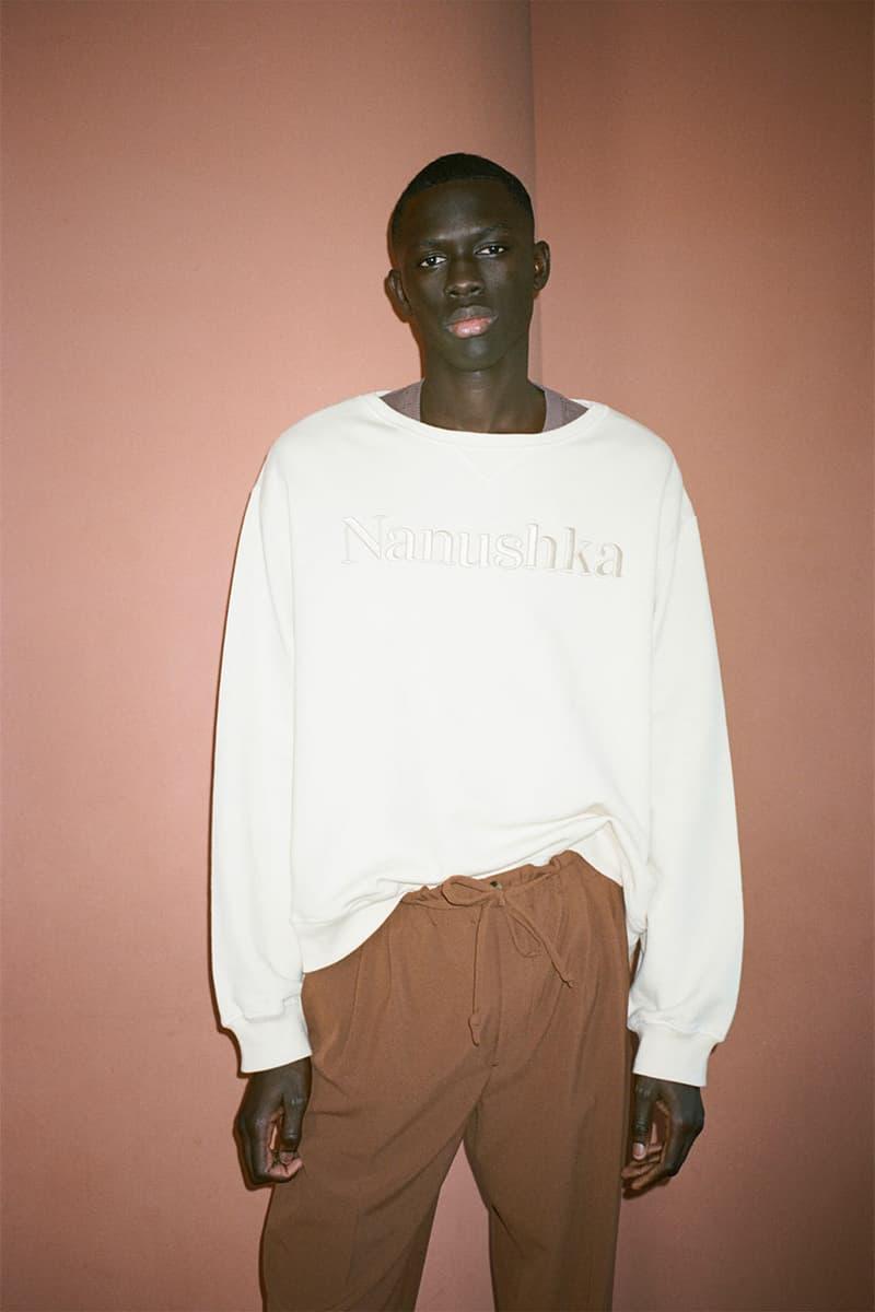 nanushka pre-fall 2021 collection lookbook sweater white sweatshirt