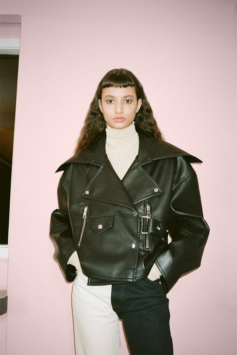 nanushka pre-fall 2021 collection lookbook leather biker jacket
