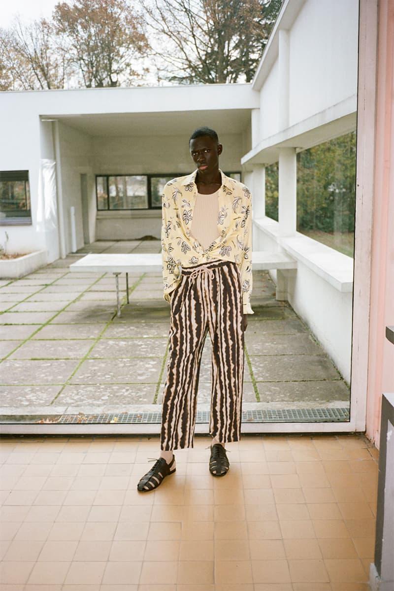 nanushka pre-fall 2021 collection lookbook menswear striped pants trousers