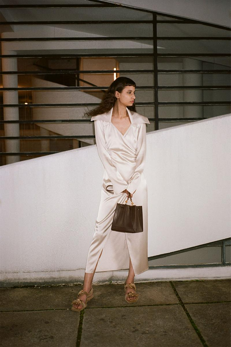 nanushka pre-fall 2021 collection lookbook satin silk dress white