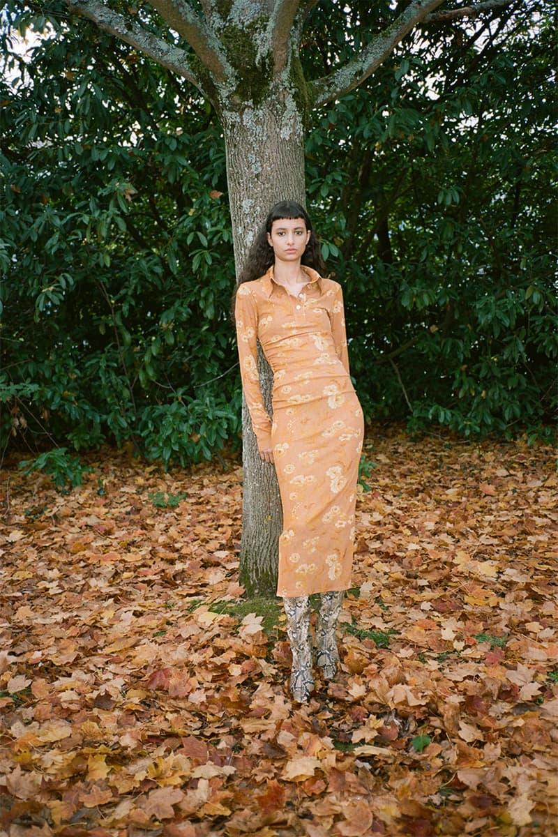 nanushka pre-fall 2021 collection lookbook orange floral dress