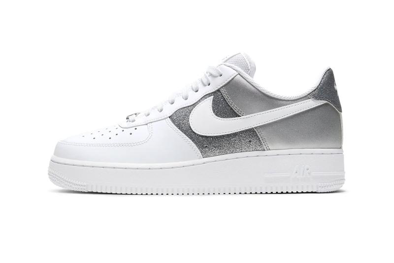 nike air force 1 07 af1 silver metallic glitter white swoosh lateral