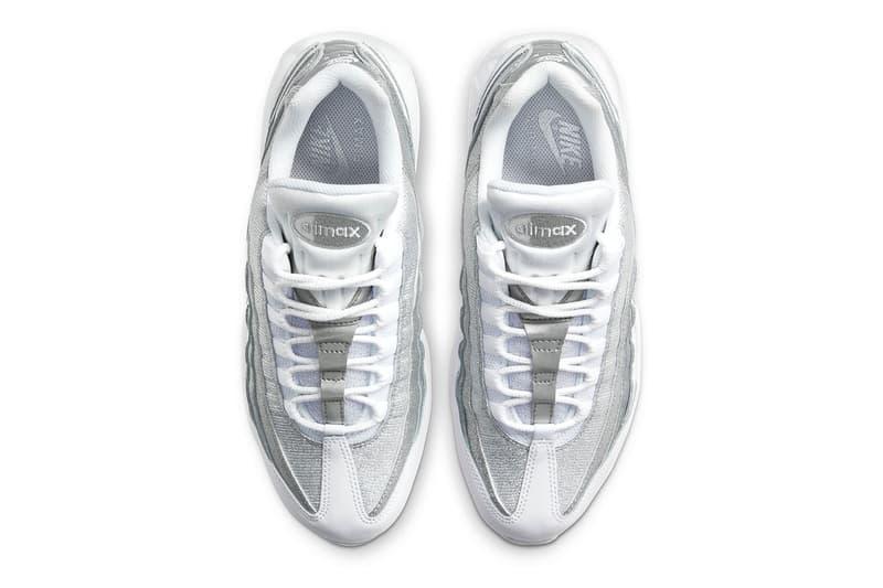 nike air max 95 am95 silver metallic glitter swoosh logo sneakers top upper laces tongue