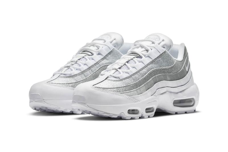 nike air max 95 am95 silver metallic glitter swoosh logo sneakers side view lateral details