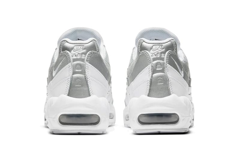 nike air max 95 am95 silver metallic glitter swoosh logo sneakers back rear heel tab logo