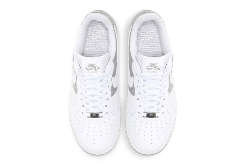 nike air force 1 07 af1 silver metallic glitter white swoosh top upper shoelaces