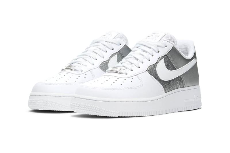 nike air force 1 07 af1 silver metallic glitter white swoosh side lateral