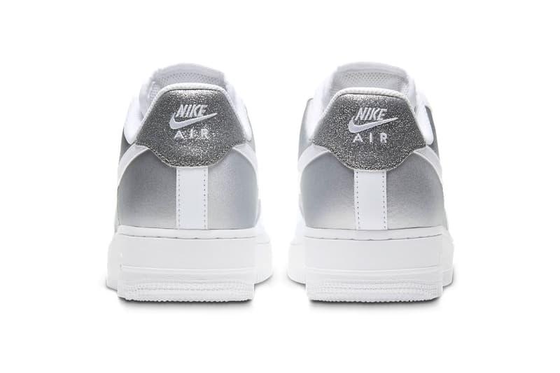 nike air force 1 07 af1 silver metallic glitter back heel tab logo