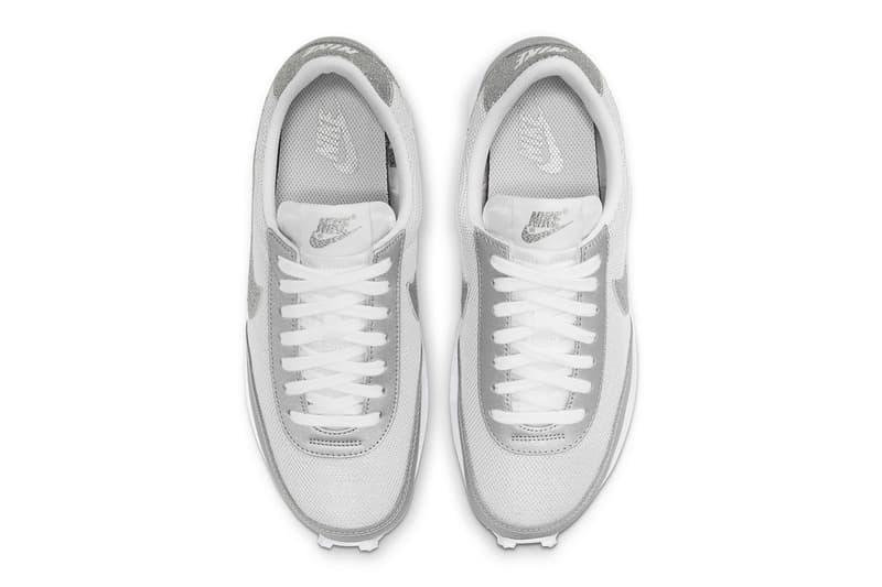 nike daybreak silver metallic glitter swoosh logo sneakers top upper white shoelaces