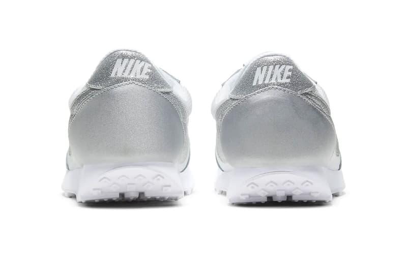 nike daybreak silver metallic glitter swoosh logo sneakers back heel rear tab logo