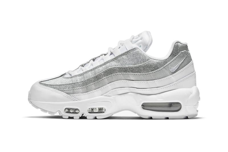 nike air max 95 am95 silver metallic glitter swoosh logo sneakers