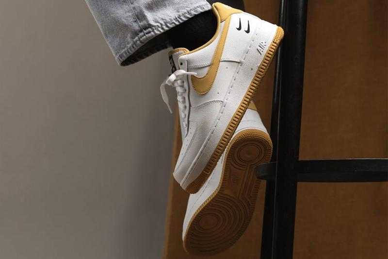 nike air force 1 af1 sneakers light ginger mustard yellow white black colorway footwear sneakerhead shoes lateral sole