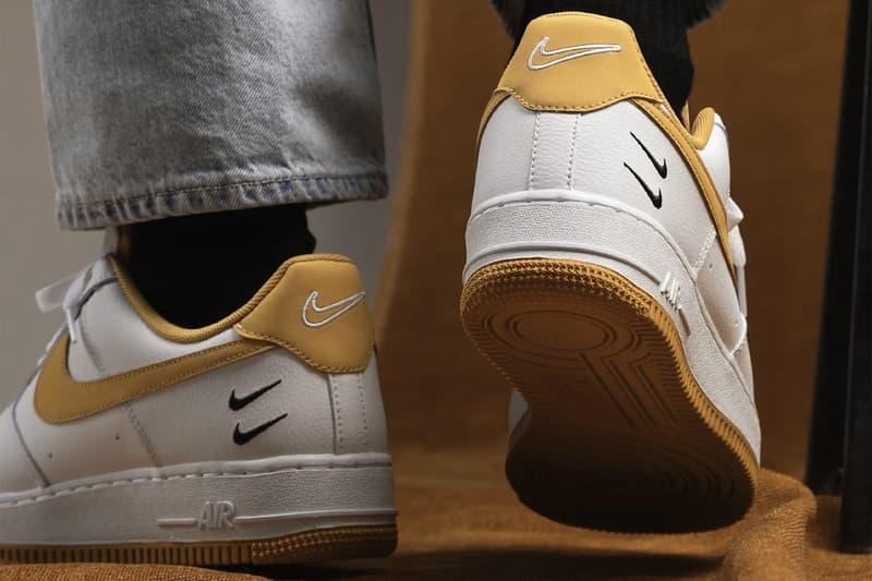 nike air force 1 af1 sneakers light ginger mustard yellow white black colorway footwear sneakerhead shoes heel sole