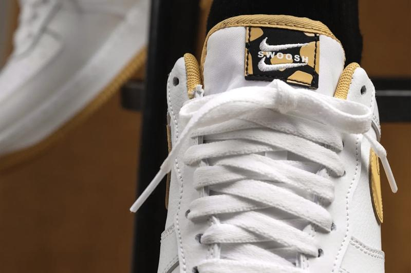 nike air force 1 af1 sneakers light ginger mustard yellow white black colorway footwear sneakerhead shoes front tongue laces close up