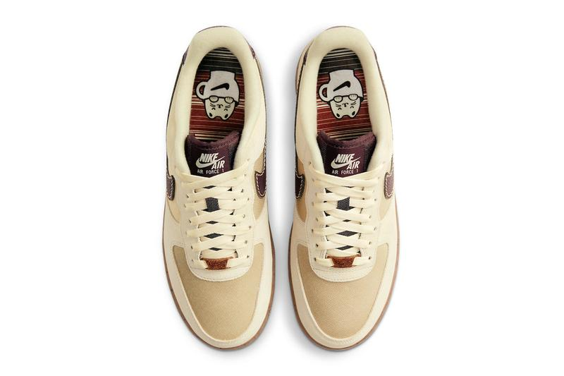 nike air force 1 af1 low coffee top view shoelaces insoles