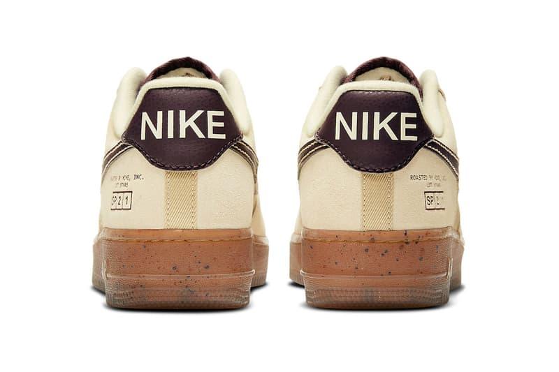 nike air force 1 af1 low coffee back heel tab view logo