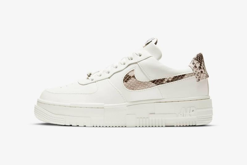 nike air force 1 pixel womens sneakers sail snake skin pattern white colorway sneakerhead footwear shoes laces lateral