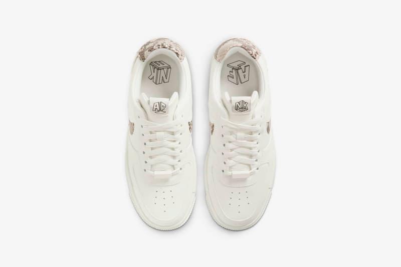 nike air force 1 pixel womens sneakers sail snake skin pattern white colorway sneakerhead footwear shoes laces insole birds eye aerial view