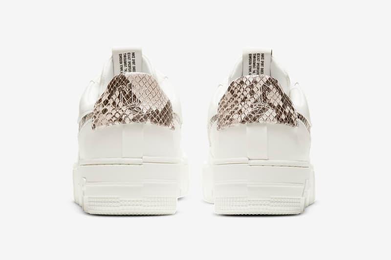 nike air force 1 pixel womens sneakers sail snake skin pattern white colorway sneakerhead footwear shoes heel