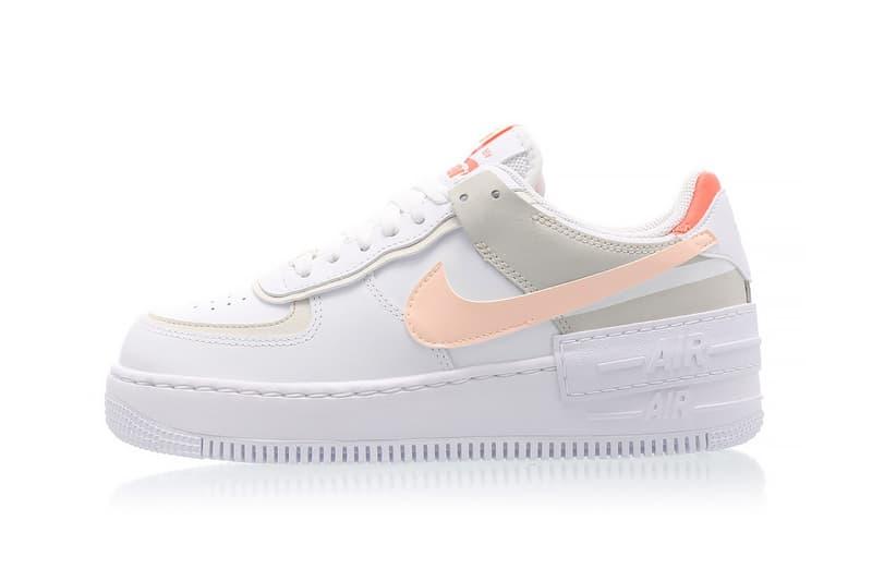 nike air force 1 shadow womens sneakers bright mango white pastel pink orange ivory colorway footwear sneakerhead shoes lateral