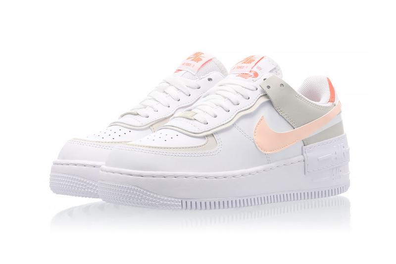 nike air force 1 shadow womens sneakers bright mango white pastel pink orange ivory colorway footwear sneakerhead shoes lateral laces