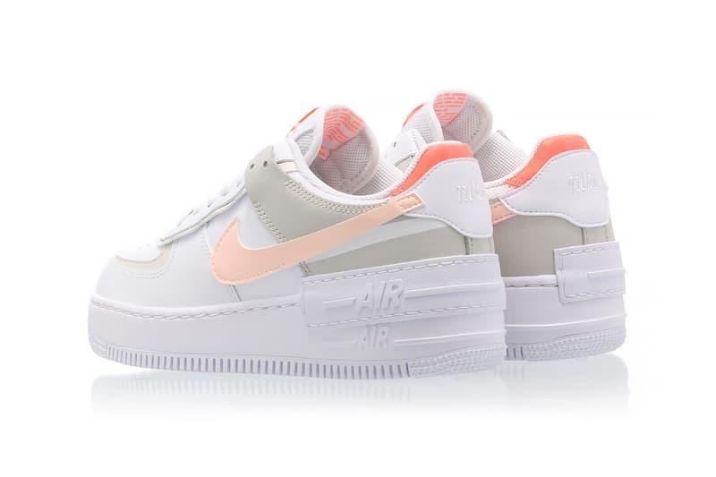 nike air force 1 shadow womens sneakers bright mango white pastel pink orange ivory colorway footwear sneakerhead shoes heel